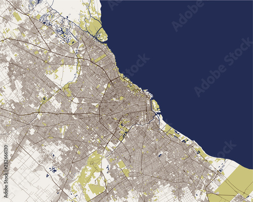 Fotografie, Obraz vector map of the city of Autonomous City of Buenos Aires, Argentina, South Amer