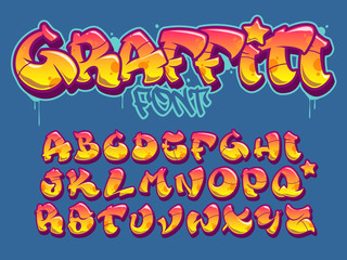 Graffiti style font. Orange and yellow colors vector alphabet