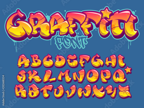 Recess Fitting Graffiti Graffiti style font. Orange and yellow colors vector alphabet