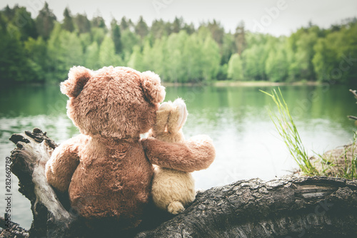 Obraz na plátně True friends, bunny and teddy bear are sitting side by side at lake, dreaming and remembering