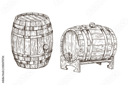 Foto Oak containers for alcohol storage, graphic art isolated on white background vec