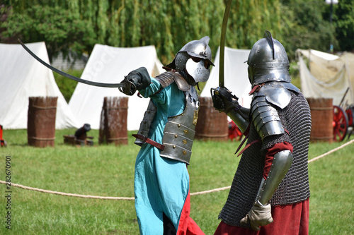 Photo Fight of medieval Polish knights with sabres