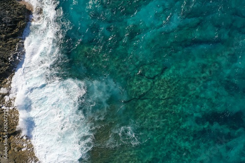 Photo Stands Air photo Aerial view to ocean waves and coast