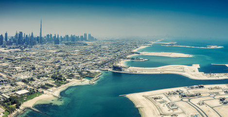 Aerial view on Dubai, UAE, on a summer day.
