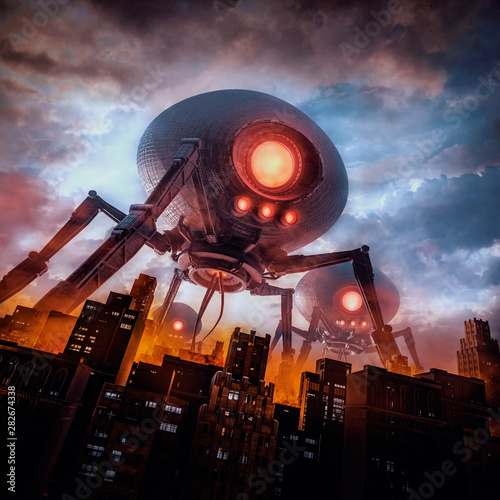 Valokuvatapetti The eve of invasion / 3D illustration of retro science fiction scene with giant