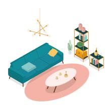 Isometric Living Room On White. Vector Illustration In Flat Design, Isolated.