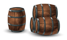 Four Wooden Barrels For Wine Or Other Drinks, Studded With Iron Rings On A White Background. 3D Vector. High Detailed Realistic Illustration.