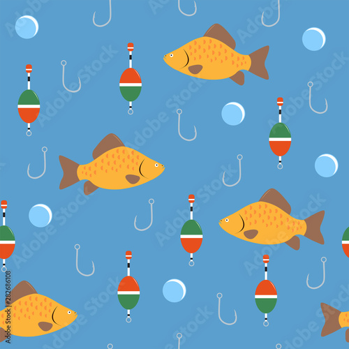 Fototapeta  The fishing pattern is on blue background.