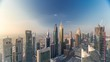 Skyline view of the buildings of Sheikh Zayed Road and DIFC aerial timelapse in Dubai, UAE. Modern towers and skyscrapers in financial center and downtown