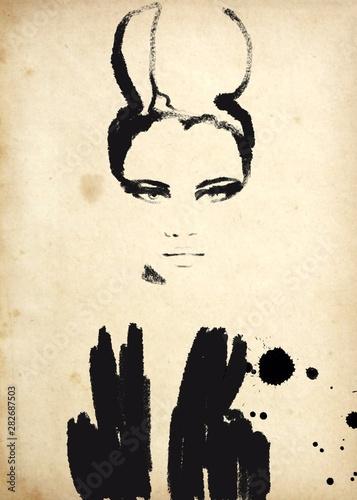 Obraz na płótnie Abstract fashion illustration in black and white print