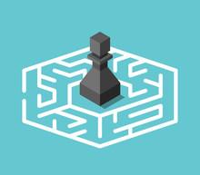 Isometric Pawn Inside Maze