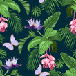 Medinilla, white strelitzia, purple butterflies, tropical leaves on a dark background. Seamless vector pattern.