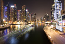 Dubai Marina River At Night