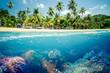 canvas print picture - Paradiesischer Strand mit Korallen Riff