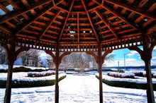 Snowy Scene From Inside Gazebo