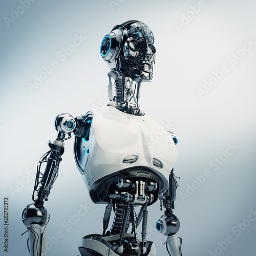 Leinwand Poster  Faceless robotic torso with visible connections, 3d rendering