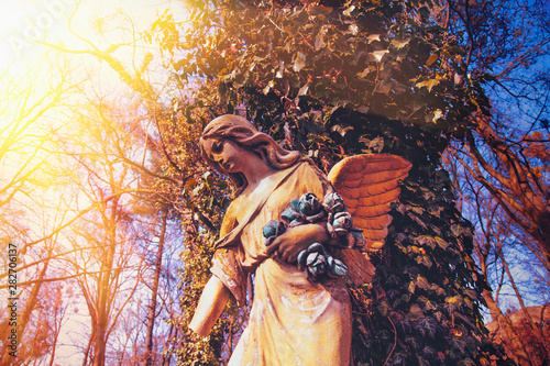 Poster de jardin Fleur Beautiful antique statue of an angel in the sunlight.