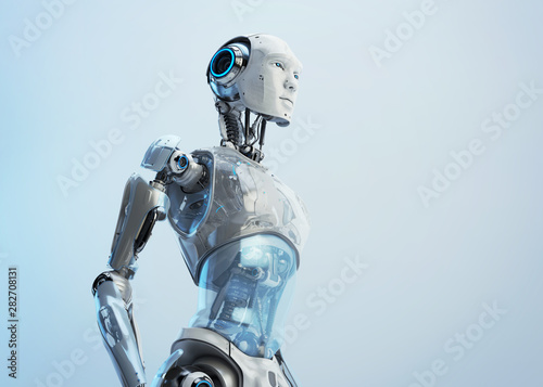 Stylish robotic male with oilcloth stomach cover,  3d rendering Wallpaper Mural