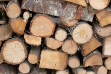 Wooden Logs, Stacked And Cut Transversely