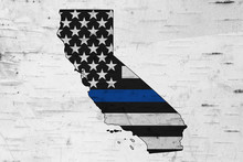 American Thin Blue Line Flag On Map Of California