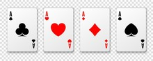 Four Aces. Poker Winning Hand....