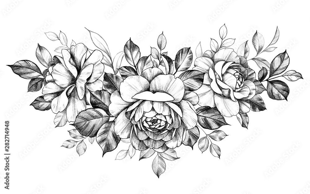 Fototapety, obrazy: Hand Drawn Rose  Flowers Bunch