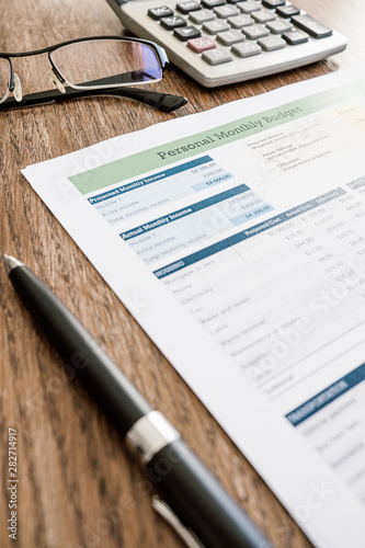 close up image of a budgeting spreadsheet - 282714917
