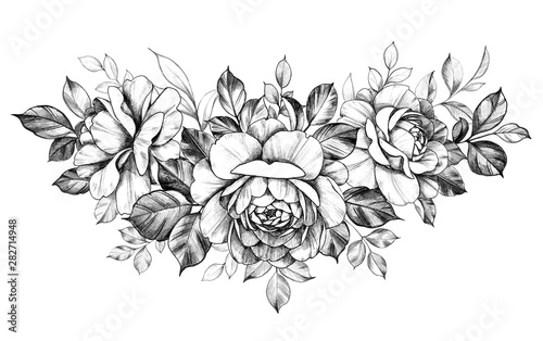 Hand Drawn Rose  Flowers Bunch #282714948