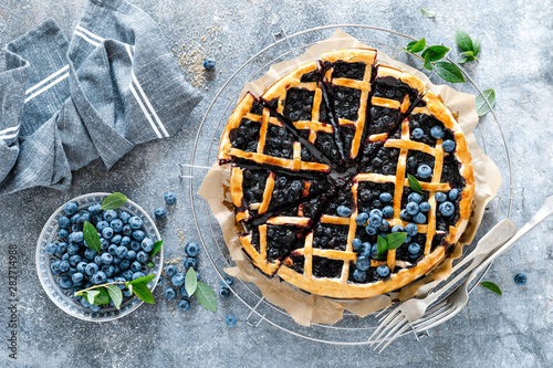 Recess Fitting India Traditional homemade american blueberry pie with lattice pastry, top view.