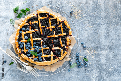 Traditional homemade american blueberry pie with lattice pastry, top view Canvas Print