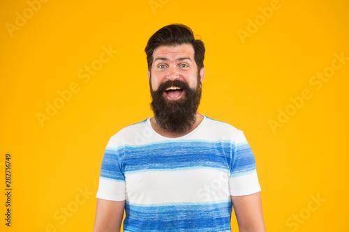 Fényképezés  Guy dressed striped shirt on summer vacation