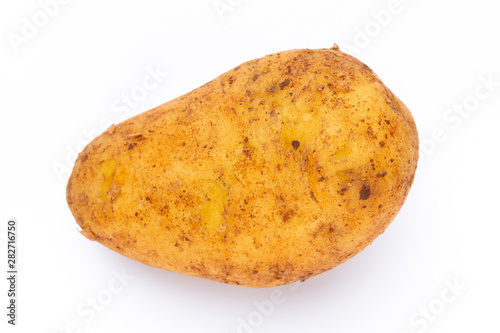 Tuinposter Kruiderij Potatoes isolated on white background. Flat lay. Top view.