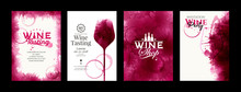 Collection Of Templates With Wine Designs. Elegant Wine Glass Illustration. Brochure, Poster, Invitation Card, Promotion Banner, Menu, List, Cover. Background Red And Rose Wine Stains.