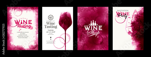 Fotomural Collection of templates with wine designs