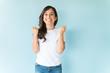 Leinwandbild Motiv Cheerful Woman Having Fun In Studio