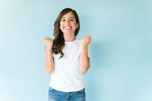 Cheerful Woman Having Fun In Studio