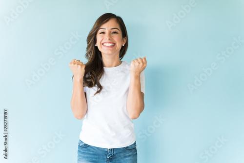 Fototapeta Cheerful Woman Having Fun In Studio obraz na płótnie