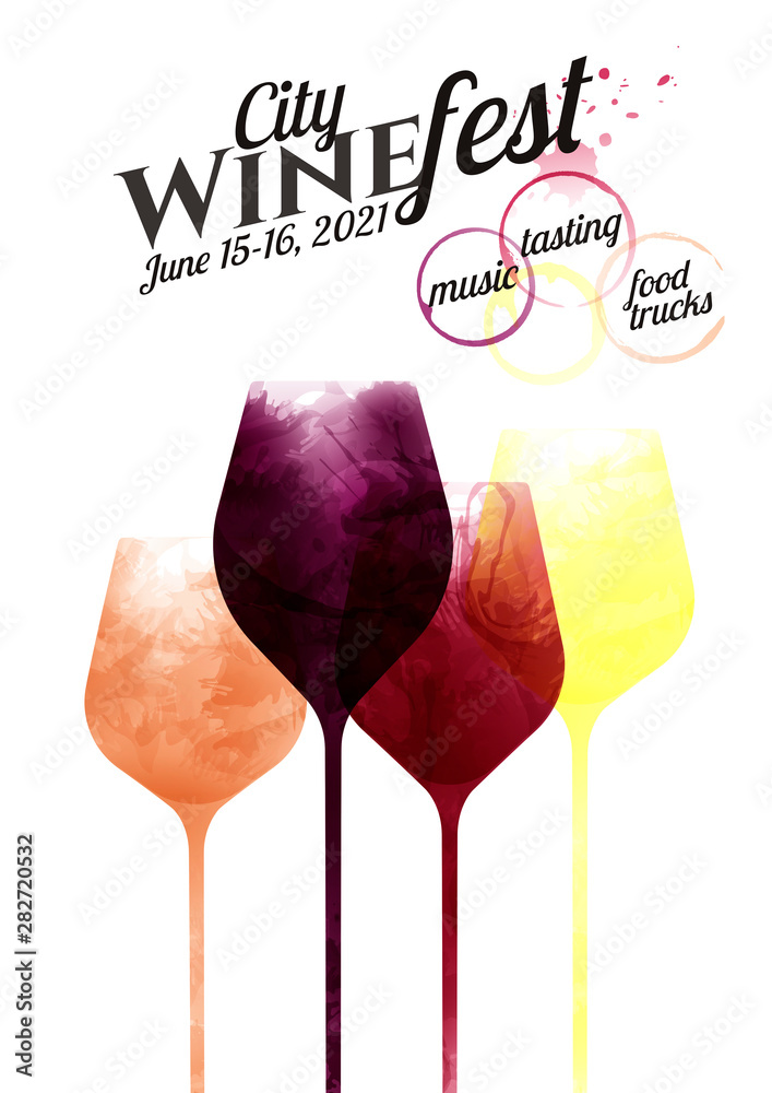 Fototapeta illustration of glasses of red, pink and white wine. Drawing with wine stains, artistic. Template with simple text. Poster, flyer, magazine cover. Design for event, party, celebration.