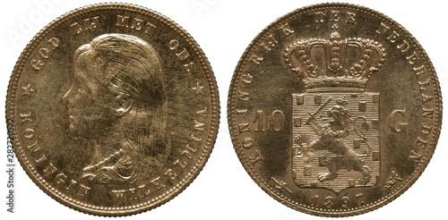 Fotografie, Obraz  The Netherlands Dutch golden coin 10 ten gulden 1897, youngest portrait of Queen