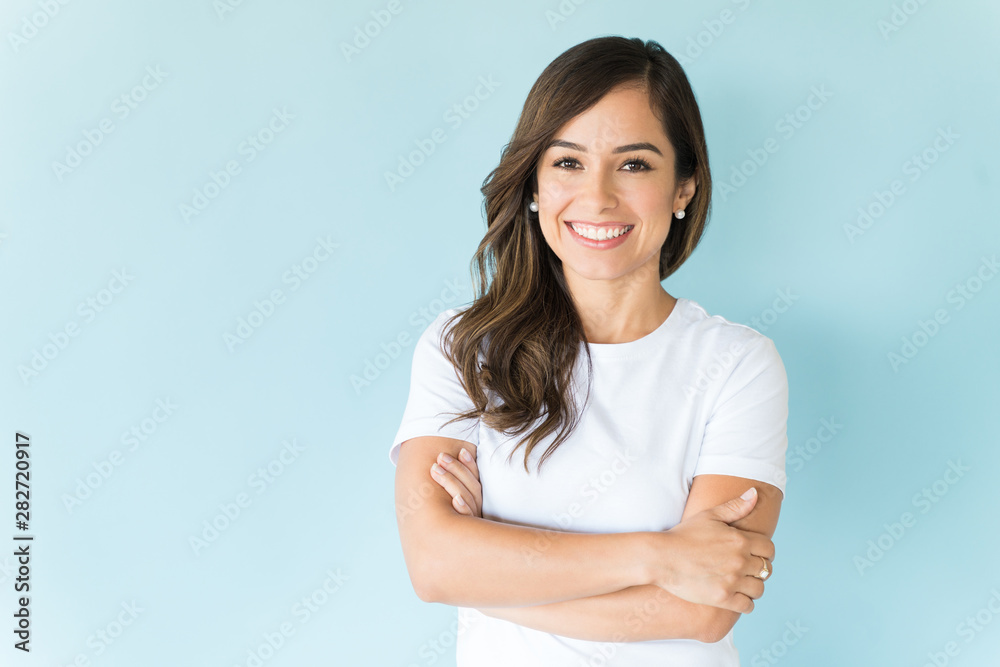 Fototapeta Happy Self-Assured Woman On Isolated Background