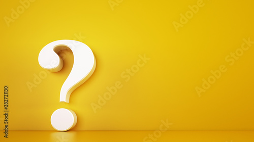 Big white question mark on a yellow background. 3D Rendering Slika na platnu