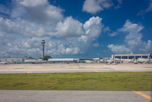 Cancun, Mexico - July 28, 2018. The Cancun International Airport Is Located 16 Kilometers From The City Of Cancun, On The Caribbean Coast On The Yucatan Peninsula.