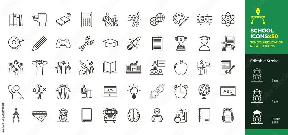 Fototapeta Back to school icon set with 50 different vector icons related with education, success, academic subjects and more. Editable stroke for your own needs.
