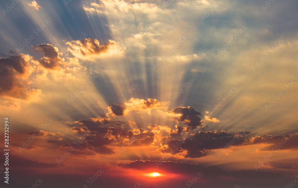Fototapety, obrazy: Spectacular Autumn Sunset, Incredible Clouds