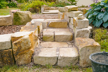 Stone Steps Under Construction  -   Landscaping Works With Natural Stones