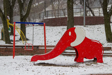 Winter On The Playground,winter Day On Playground With Elephant