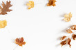 Leinwanddruck Bild - Autumn creative composition. Dried leaves on white background. Fall concept. Autumn background. Flat lay, top view, copy space