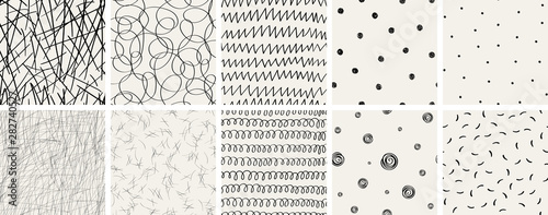 Obraz Set of seamless abstract hand-drawn patterns. Vector modern creative backgrounds for your design - fototapety do salonu