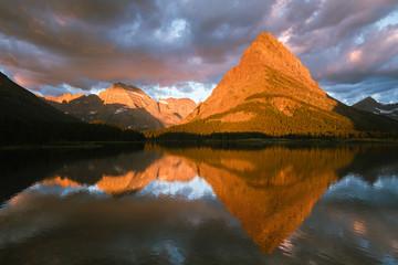 Panel Szklany Rzeki i Jeziora Sunrise Alpenglow