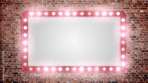 A blank marquee sign on a red brick wall with flashing lights. Canvas-taulu